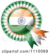 Clipart Shiny Indian Flag Rosette Bowknots Medal Award Royalty Free Vector Illustration by MilsiArt