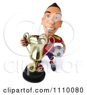 Clipart 3d White Spanish Soccer Player With A Trophy 1 Royalty Free CGI Illustration