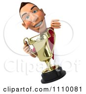 Clipart 3d White Spanish Soccer Player Holding A Trophy And Sign 1 Royalty Free CGI Illustration