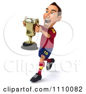 Clipart 3d White Spanish Soccer Player With A Trophy 2 Royalty Free CGI Illustration