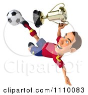 Clipart 3d White Spanish Soccer Player With A Trophy 3 Royalty Free CGI Illustration