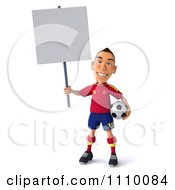 Clipart 3d White Spanish Soccer Player Holding A Sign 1 Royalty Free CGI Illustration