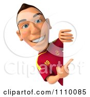 Clipart 3d White Spanish Soccer Player Holding A Sign 2 Royalty Free CGI Illustration