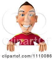 Clipart 3d White Spanish Soccer Player Holding A Sign 3 Royalty Free CGI Illustration