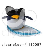 Clipart 3d Penguin Wearing Sunglasses And Surfing 2 Royalty Free CGI Illustration