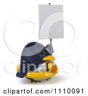Clipart 3d Penguin With A Sign 3 Royalty Free CGI Illustration