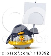 Clipart 3d Penguin With A Sign 2 Royalty Free CGI Illustration