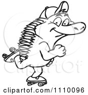 Clipart Black And White Aussie Echidna Roller Skating Royalty Free Vector Illustration