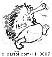 Clipart Black And White Echidna Running Royalty Free Vector Illustration