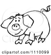 Clipart Black And White Pig Royalty Free Vector Illustration