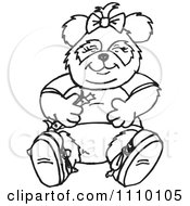 Clipart Black And White Panda Girl Sitting With Bamboo Royalty Free Vector Illustration