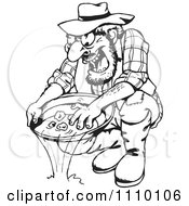 Clipart Black And White Man Panning For Gold Royalty Free Vector Illustration by Dennis Holmes Designs