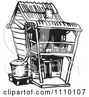Clipart Black And White Aussie Pub Building Royalty Free Vector Illustration by Dennis Holmes Designs