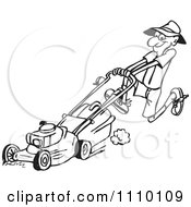Clipart Black And White Man Pushin Ga Lawn Mower 2 Royalty Free Vector Illustration by Dennis Holmes Designs
