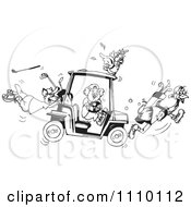 Clipart Black And White Aussie Koala Cockatoo Kangaroo And Emu With A Broken Golf Cart Royalty Free Illustration by Dennis Holmes Designs