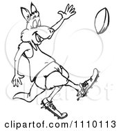 Clipart Black And White Aussie Kangaroo Playing Football Royalty Free Illustration
