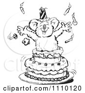 Clipart Black And White Aussie Koala Popping Out Of A Surprise Birthday Cake Royalty Free Illustration