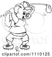 Clipart Black And White Aussie Koala Golfer 2 Royalty Free Illustration by Dennis Holmes Designs