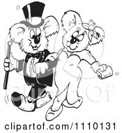 Clipart Black And White Formal Aussie Koala Couple Royalty Free Illustration