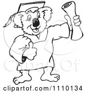 Clipart Black And White Aussie Koala Graduate Royalty Free Illustration