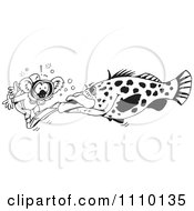 Clipart Black And White Aussie Koala Diver And Giant Fish Royalty Free Illustration