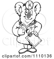 Clipart Black And White Aussie Koala Doctor Royalty Free Illustration by Dennis Holmes Designs