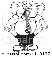 Clipart Black And White Aussie Koala With Empty Pockets Royalty Free Illustration
