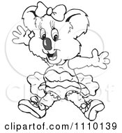 Clipart Black And White Aussie Koala Ballerina Royalty Free Vector Illustration by Dennis Holmes Designs