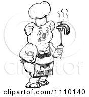Clipart Black And White Aussie Koala Chef With A Bikini Apron And Bbq Steak Royalty Free Vector Illustration by Dennis Holmes Designs