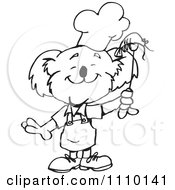 Clipart Black And White Aussie Koala Bbq Chef With Shrimp Royalty Free Vector Illustration by Dennis Holmes Designs