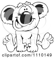 Clipart Black And White Aussie Koala Baby Sitting Royalty Free Vector Illustration
