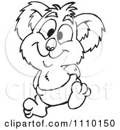 Clipart Black And White Aussie Koala Baby Royalty Free Vector Illustration