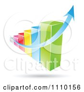 Clipart 3d Colorful Statistic Bar Graph With A Growth Arrow Royalty Free Vector Illustration
