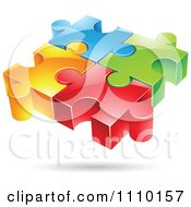 Clipart 3d Colorful Connected Puzzle Pieces Royalty Free Vector Illustration