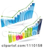 Clipart 3d Statistic Bar Graphs With Green Lines And Dots Royalty Free Vector Illustration by cidepix