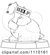 Clipart Outlined Cartoon Endangered Polar Bear Holding A Help Sign Royalty Free Vector Illustration