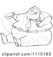 Clipart Outlined Cartoon Unhealthy Obese Man Eating A Hamburger And Holding A Soda Royalty Free Vector Illustration