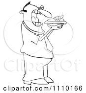 Clipart Outlined Cartoon Man Eating A Hot Dog Royalty Free Vector Illustration by djart
