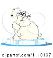 Clipart Endangered Polar Bear Holding A Help Sign Royalty Free Vector Illustration by djart