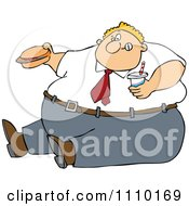 Clipart Cartoon Unhealthy Obese Man Eating A Hamburger And Holding A Soda Royalty Free Vector Illustration