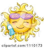 Clipart Happy Summer Sun Wearing Sunglasses And Holding Sun Block Royalty Free Vector Illustration