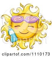 Happy Summer Sun Wearing Sunglasses And Holding Sun Block