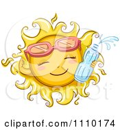 Clipart Happy Summer Sun Wearing Sunglasses And Holding A Water Bottle Royalty Free Vector Illustration
