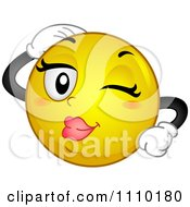 Clipart Yellow Smiley Winking And Flirting Royalty Free Vector Illustration