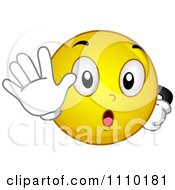 Clipart Yellow Smiley Gesturing To Stop Royalty Free Vector Illustration