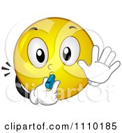 Clipart Yellow Smiley Blowing A Whistle And Gesturing To Stop Royalty Free Vector Illustration