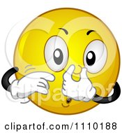 Clipart Yellow Smiley Plugging His Nose Royalty Free Vector Illustration by BNP Design Studio