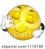 Clipart Yellow Smiley Gesturing Okay For Delicious Royalty Free Vector Illustration by BNP Design Studio