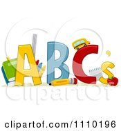 Clipart Alphabet School Items With ABCs Royalty Free Vector Illustration