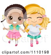 Cute Happy Best Friend Blond And Black Girls Holding Hands